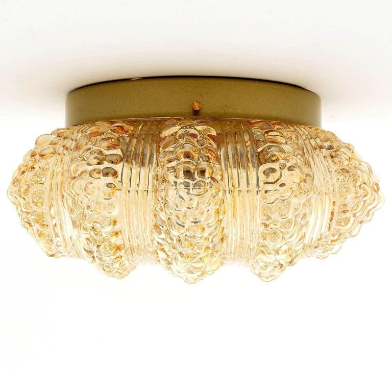 1960s Pair of Flush Mount Lights or Sconces, Amber Tone Bubble Glass, 1970 For Sale