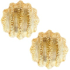 Pair of Flush Mount Lights or Sconces, Amber Tone Bubble Glass, 1970