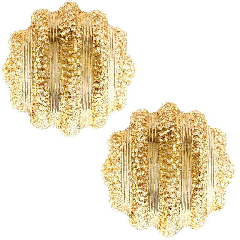 Pair of Flush Mount Lights or Sconces, Amber Tone Bubble Glass, 1970 For Sale