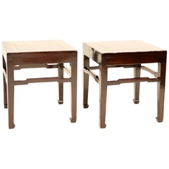 Pair of Flush-Sided Meditation Stools with Humpback Stretchers & Horse Hoof Feet