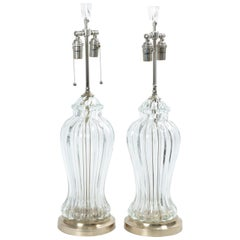 Pair of Fluted Clear Murano Glass Table Lamps with Nickel Detail