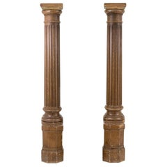 Pair of Fluted Columns in Lacquered Wood, Late 19th Century