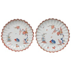 Pair of Fluted Dessert Plates, Kakiemon Decoration, Bow Porcelain Factory