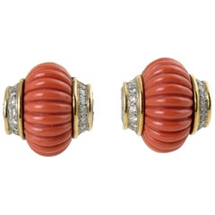 Pair of Fluted Natural Coral and Diamond Bombe Clip Earrings
