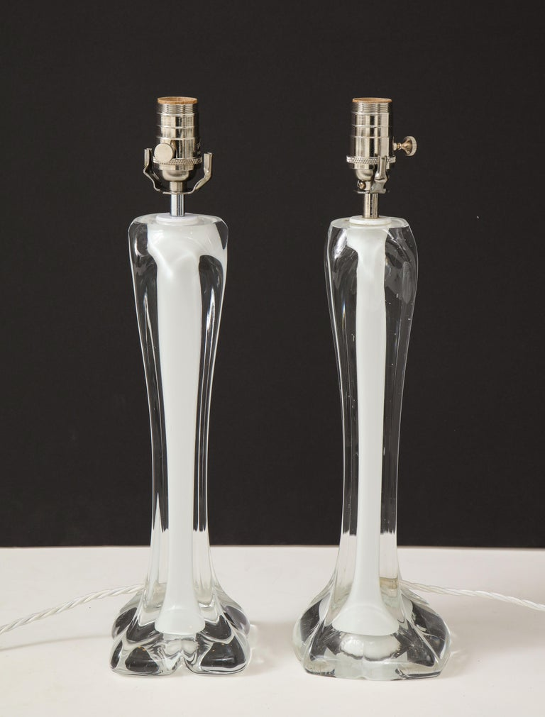 Pair of Flygsfors Crystal Lamps For Sale 5