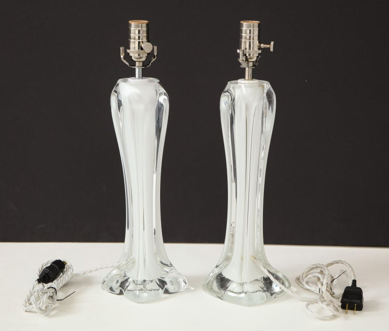 Pair of Flygsfors Crystal Lamps For Sale 6
