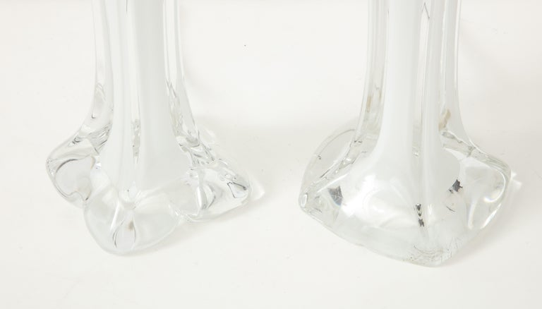 Swedish Pair of Flygsfors Crystal Lamps For Sale