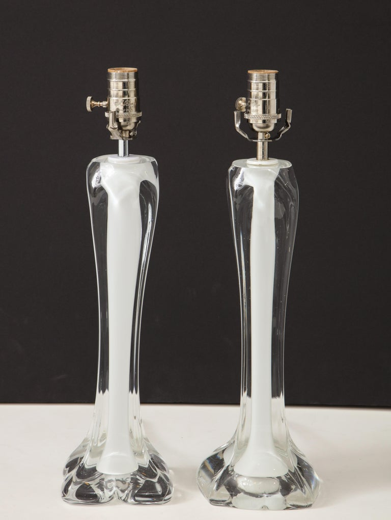 Pair of Flygsfors Crystal Lamps For Sale 1
