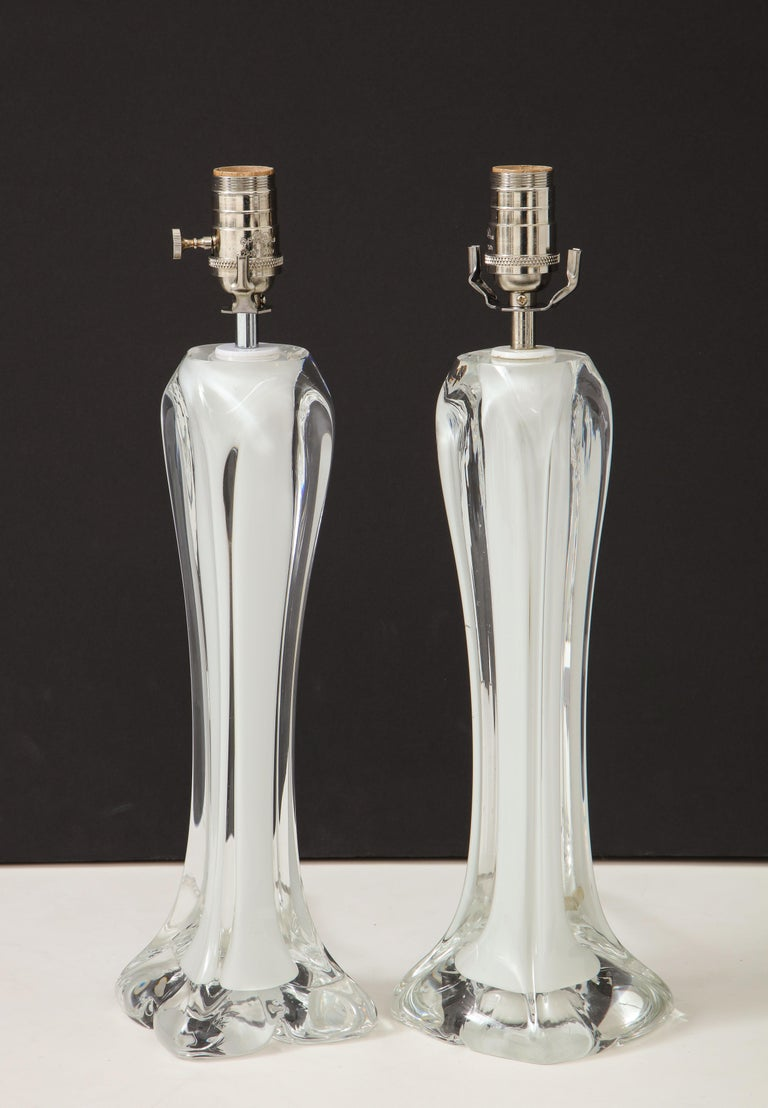 Pair of Flygsfors Crystal Lamps For Sale 4