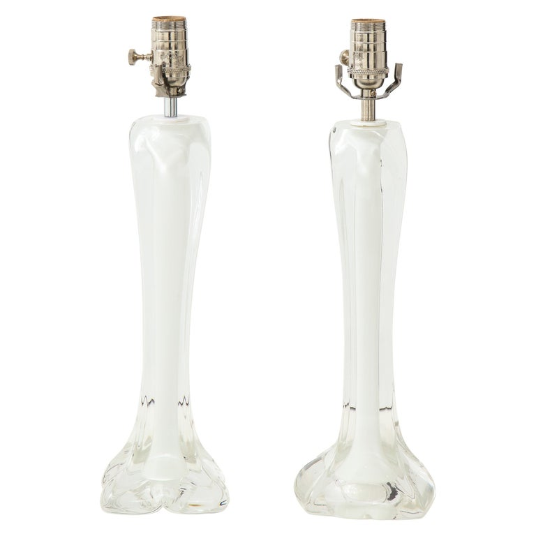 Pair of Flygsfors Crystal Lamps For Sale