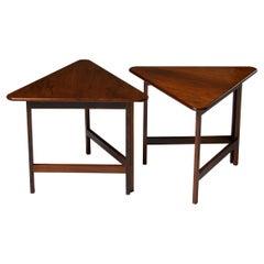 Pair of Foldable Side Tables Designed by Illum Wikkelsø for CFC Silkeborg