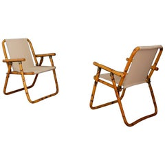 Pair of Folding Chairs Attribuited to Raffaella Crespi in Bamboo, 1950s