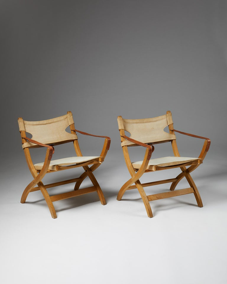 Mid-Century Modern Pair of Folding Chairs Designed by Poul Hundevad for Vamdrup For Sale