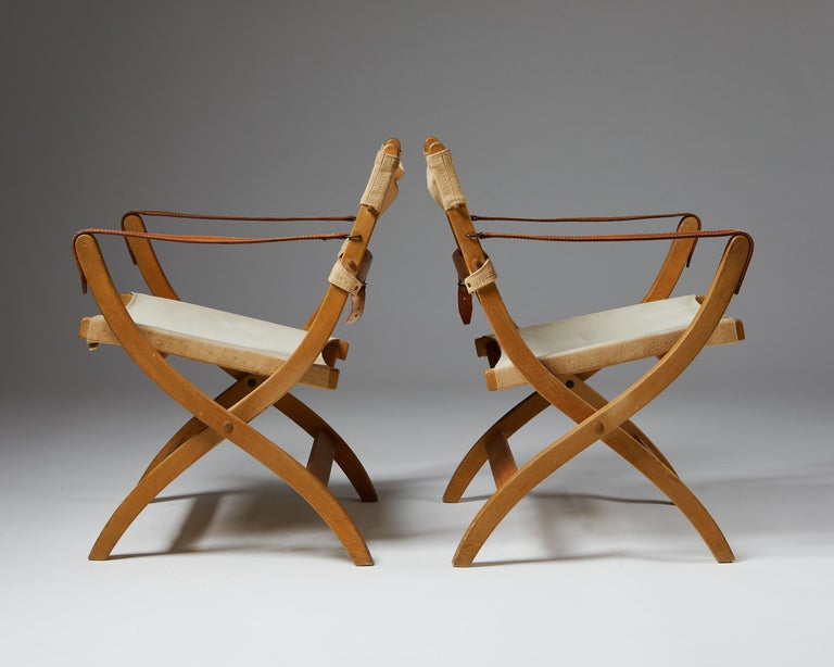 20th Century Pair of Folding Chairs Designed by Poul Hundevad for Vamdrup For Sale