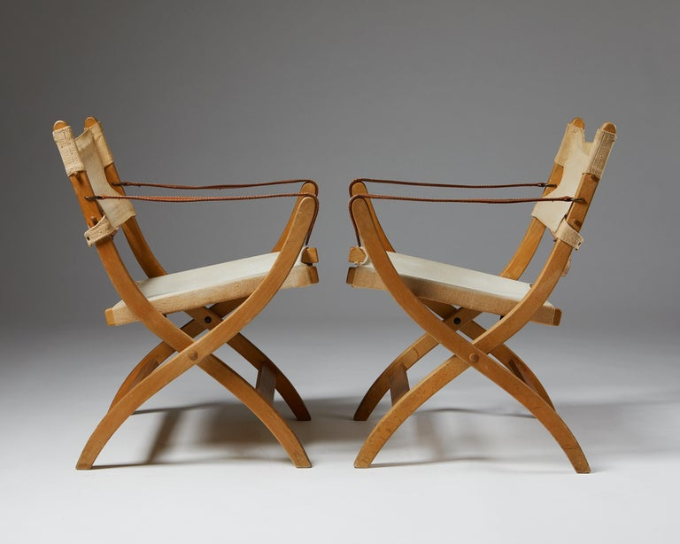 Canvas Pair of Folding Chairs Designed by Poul Hundevad for Vamdrup For Sale
