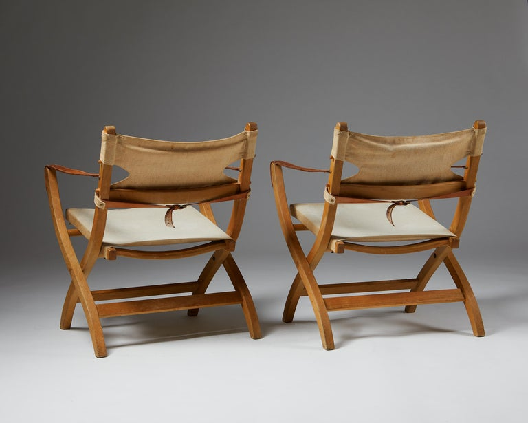 Pair of Folding Chairs Designed by Poul Hundevad for Vamdrup For Sale 1
