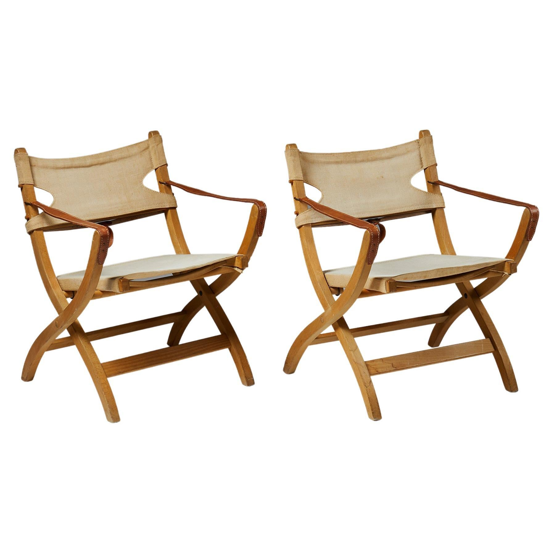 Pair of Folding Chairs Designed by Poul Hundevad for Vamdrup