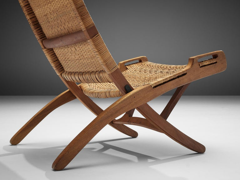 Pair of Folding Chairs in Wicker and Wood 3