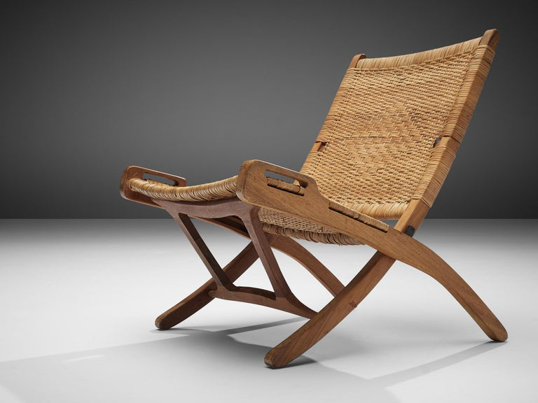 Pair of Folding Chairs in Wicker and Wood 5