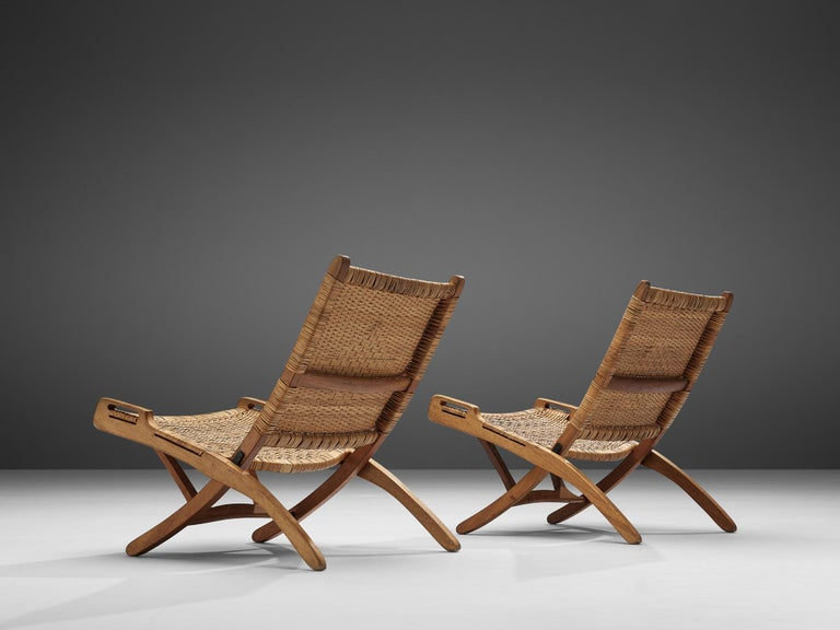 Mid-20th Century Pair of Folding Chairs in Wicker and Wood