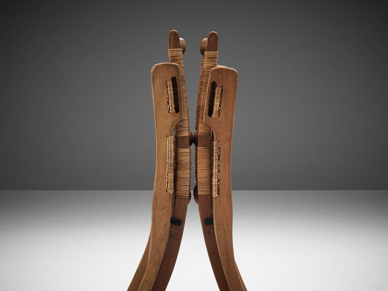 Teak Pair of Folding Chairs in Wicker and Wood