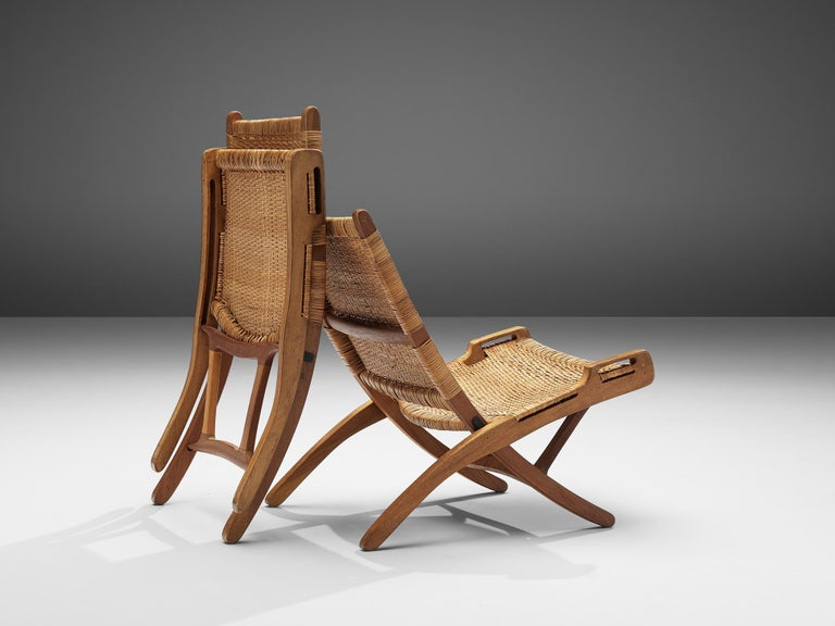 Pair of Folding Chairs in Wicker and Wood 1