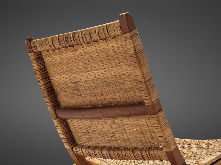 Pair of Folding Chairs in Wicker and Wood 2