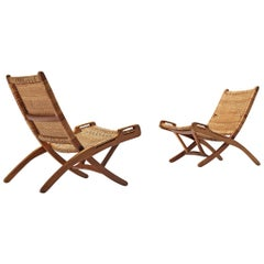 Pair of Folding Chairs in Wicker and Wood
