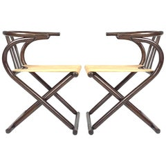 Unique Pair Folding Campaign Bentwood and Canvas Chairs by August Thonet, 1960s