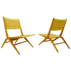 Pair of Folding Rope Lounge Chairs, 1960s