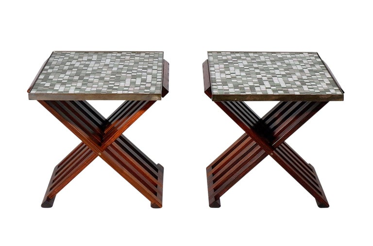 Mid-Century Modern Pair of Folding Side Tables by Dunbar For Sale
