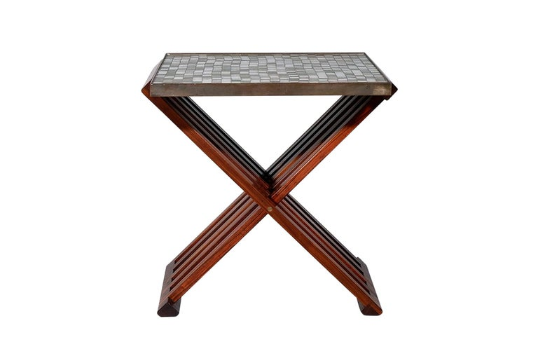 American Pair of Folding Side Tables by Dunbar For Sale