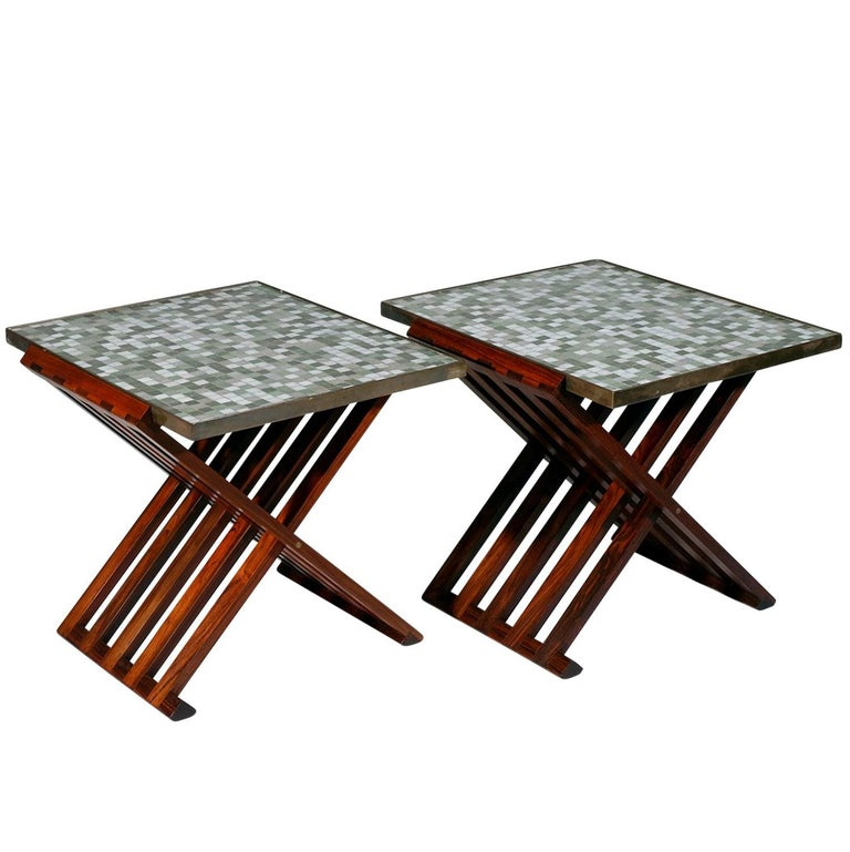 Pair of Folding Side Tables by Dunbar For Sale