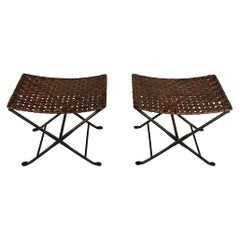 Pair of Folding Stools Leather and Wrought Iron