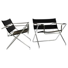 Pair of Folding Tubular Steel D4 Armchairs by Marcel Breuer for Tecta from 1980s