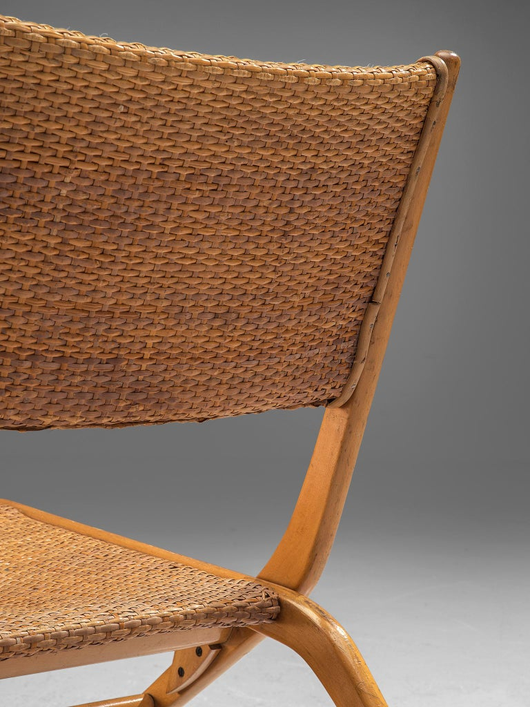 Cane Pair of Folding Woven Slipper Chairs in Beech For Sale