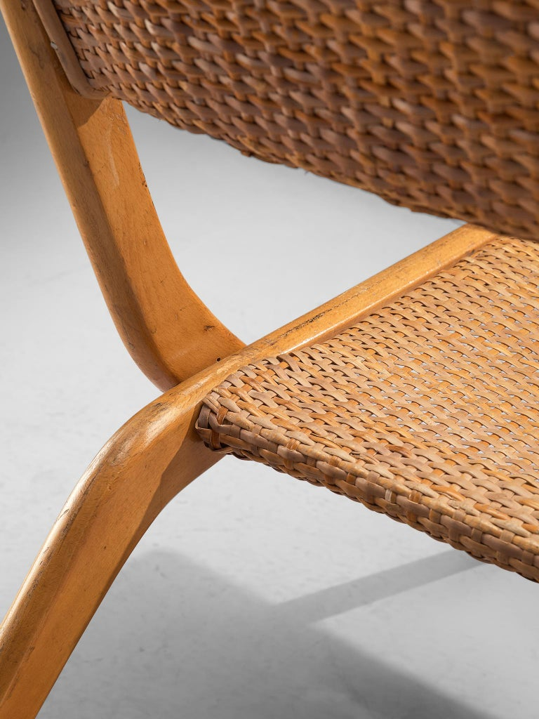 Pair of Folding Woven Slipper Chairs in Beech For Sale 2