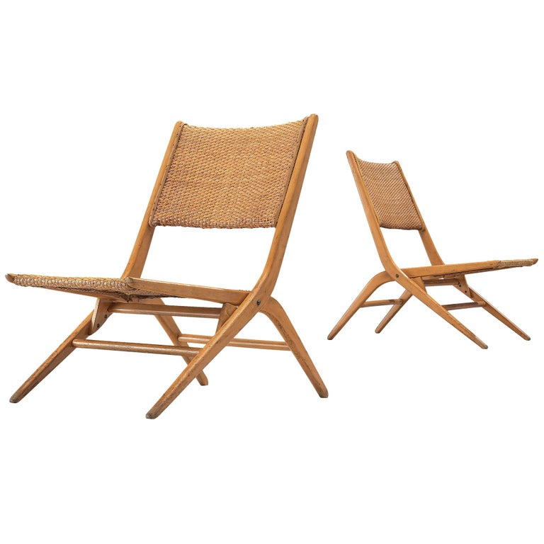 Pair of Folding Woven Slipper Chairs in Beech For Sale