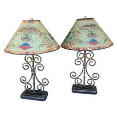 Pair of Folk Art Iron Lamps