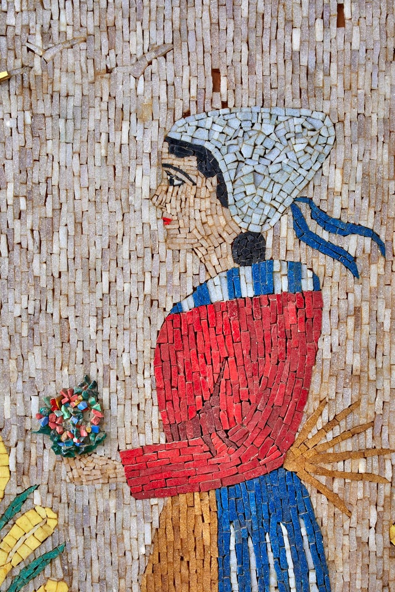 Pair of Folk Art Mosaic Tile Paintings Man and Woman For Sale 4