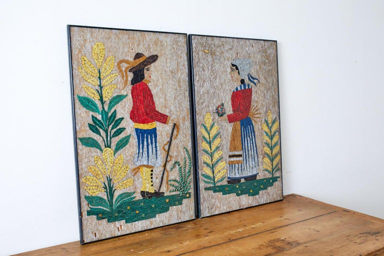 American Pair of Folk Art Mosaic Tile Paintings Man and Woman For Sale