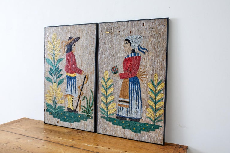 Pair of Folk Art Mosaic Tile Paintings Man and Woman In Good Condition For Sale In Rio Vista, CA