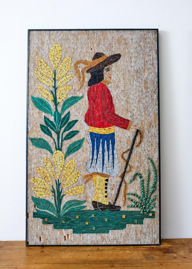 20th Century Pair of Folk Art Mosaic Tile Paintings Man and Woman For Sale