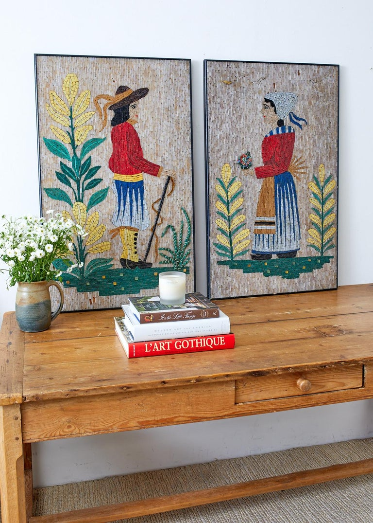 Wood Pair of Folk Art Mosaic Tile Paintings Man and Woman For Sale