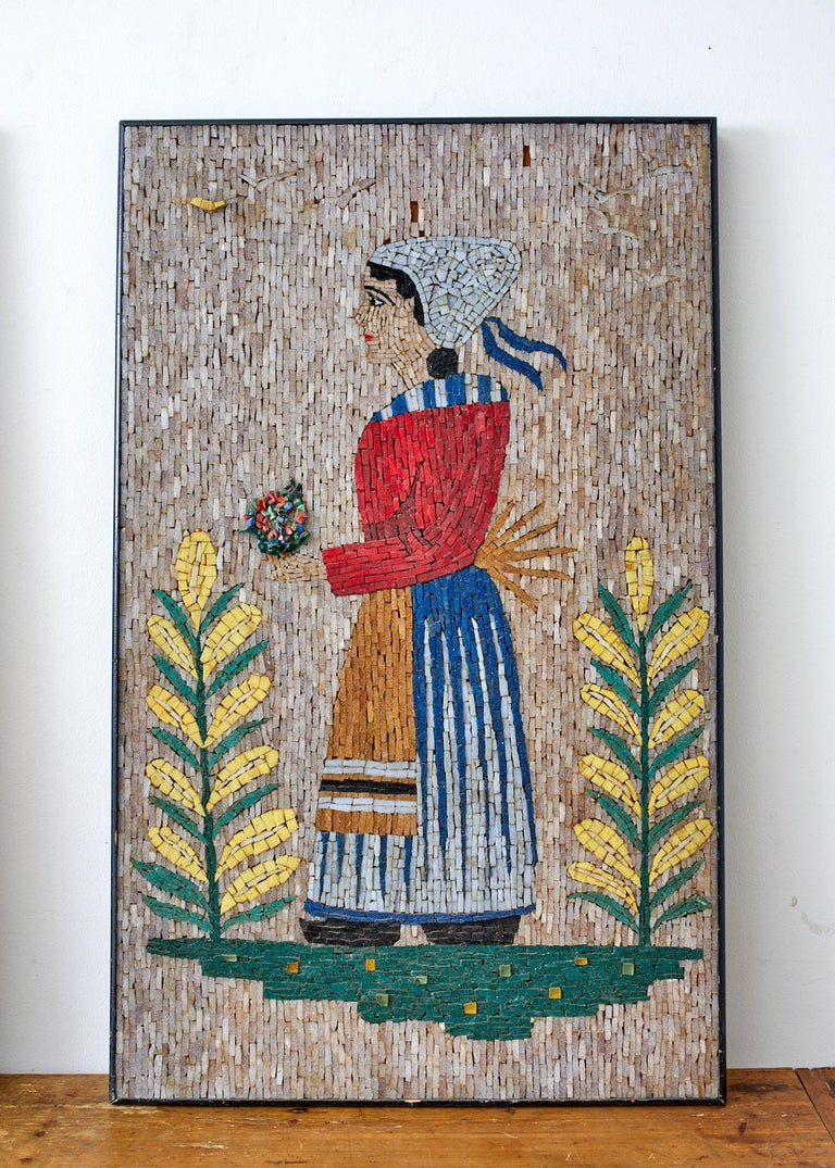 Pair of Folk Art Mosaic Tile Paintings Man and Woman For Sale 1