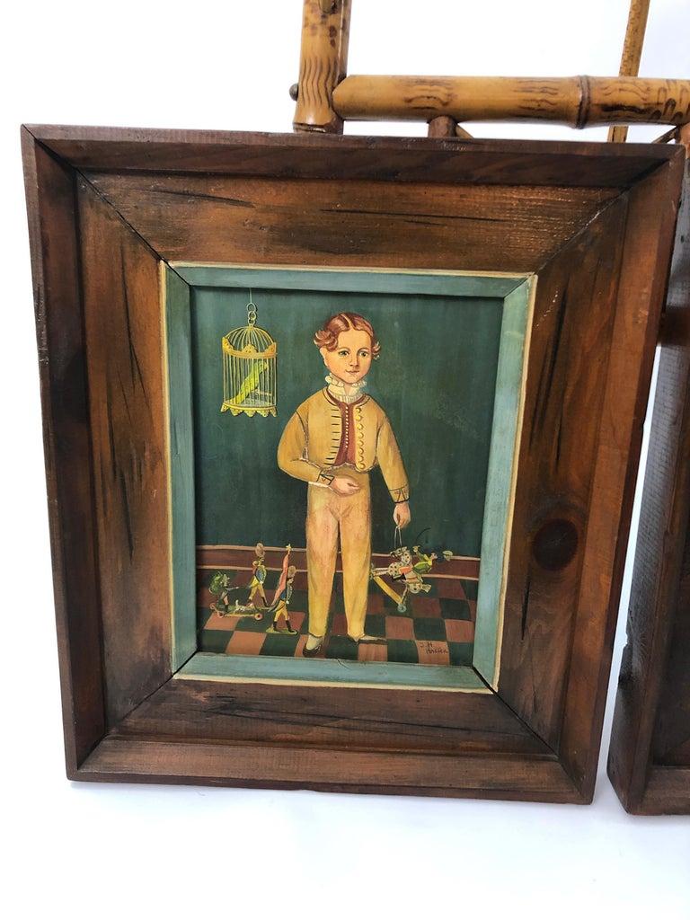 American Pair of Folk Art Portraits by Jean Halter in Original Frames For Sale
