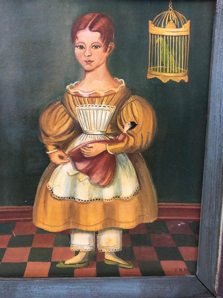 Pair of Folk Art Portraits by Jean Halter in Original Frames For Sale 2