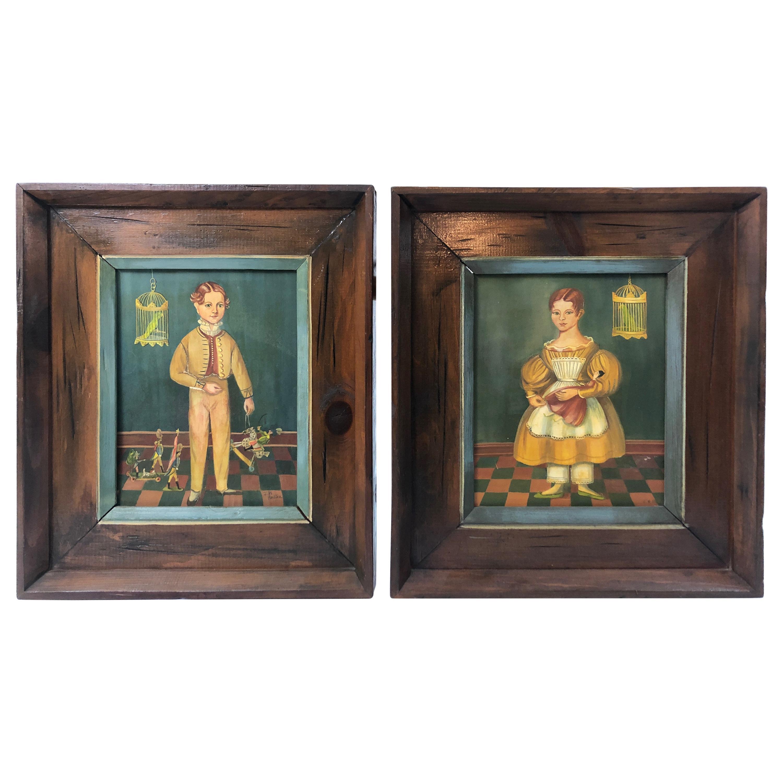 Pair of Folk Art Portraits by Jean Halter in Original Frames