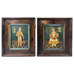 Pair of Folk Art Portraits by Jean Halter in Original Frames