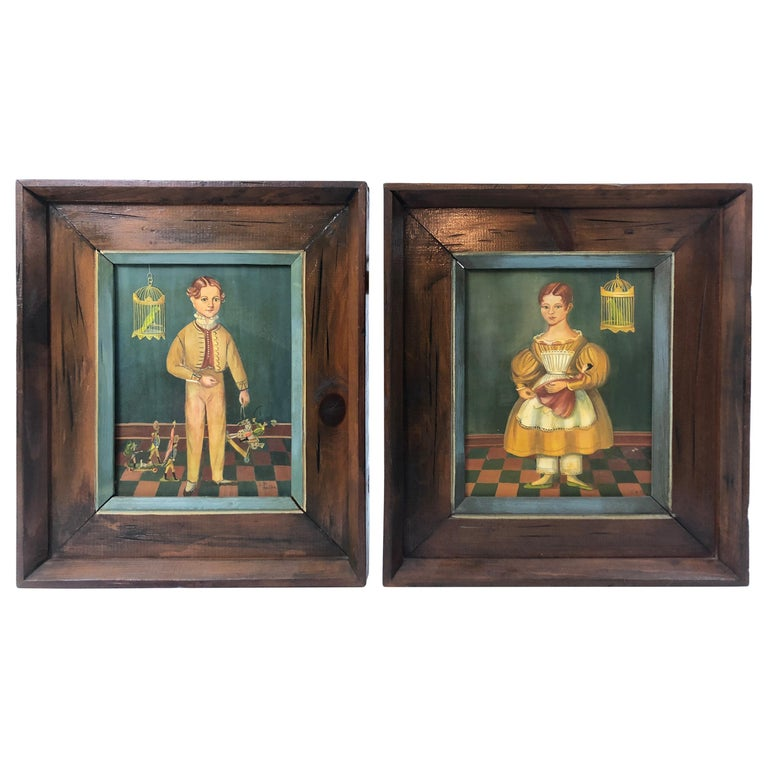 Pair of Folk Art Portraits by Jean Halter in Original Frames For Sale